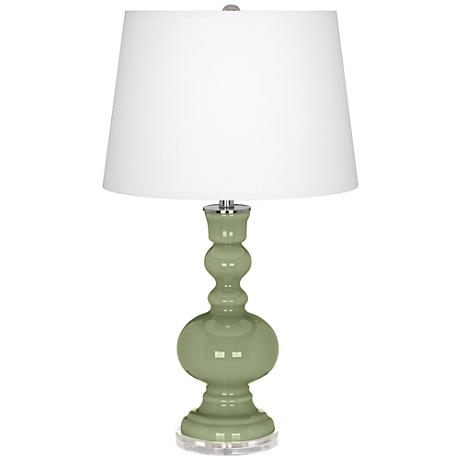 Majolica Green Apothecary Table Lamp