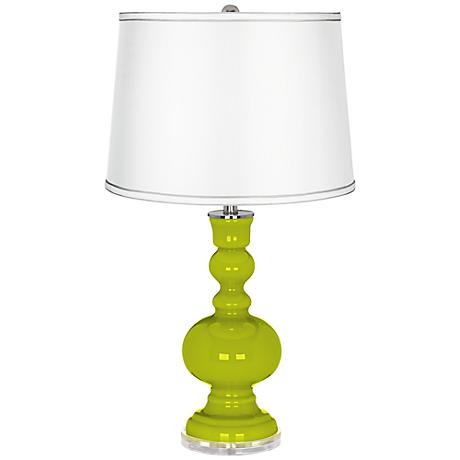 Pastel Green -Satin Silver White Shade Apothecary Table Lamp