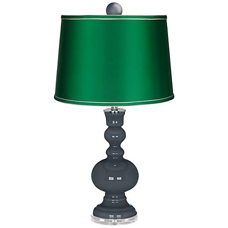 Outer Space Apothecary Lamp-Finial and Satin Emerald Shade