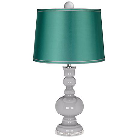 Swanky Gray Apothecary Lamp-Finial and Sea Green Shade