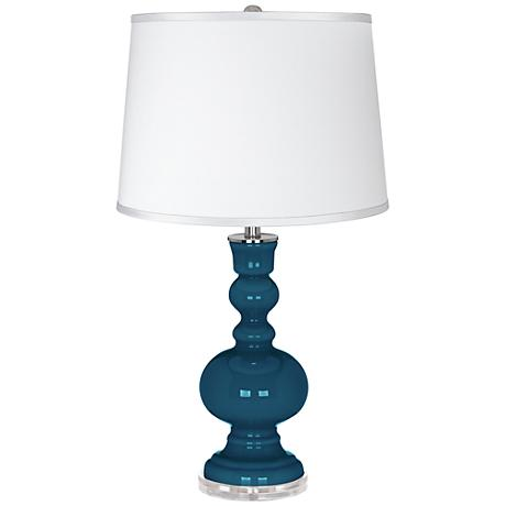 Oceanside - Satin Silver White Shade Apothecary Table Lamp