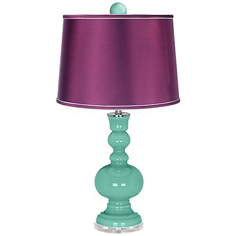 Larchmere Apothecary Lamp-Finial and Satin Plum Shade