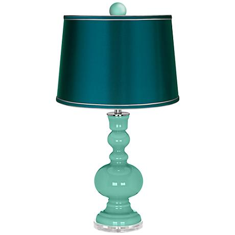 Larchmere Apothecary Lamp-Finial and Satin Teal Shade