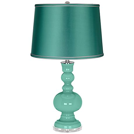 Larchmere - Satin Sea Green Shade Apothecary Table Lamp
