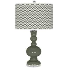 Deep Lichen Green Narrow Zig Zag Apothecary Table Lamp