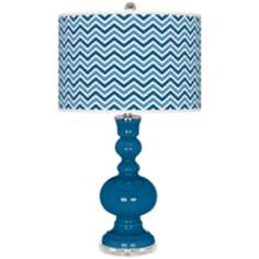 Mykonos Blue Narrow Zig Zag Apothecary Table Lamp