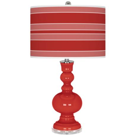 Cherry Tomato Bold Stripe Apothecary Table Lamp