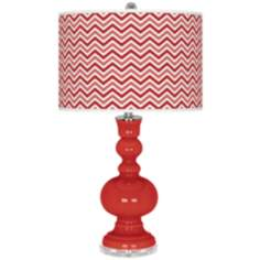 Cherry Tomato Narrow Zig Zag Apothecary Table Lamp