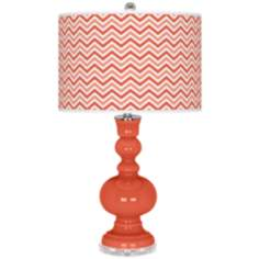 Modern Orange Narrow Zig Zag Apothecary Table Lamp