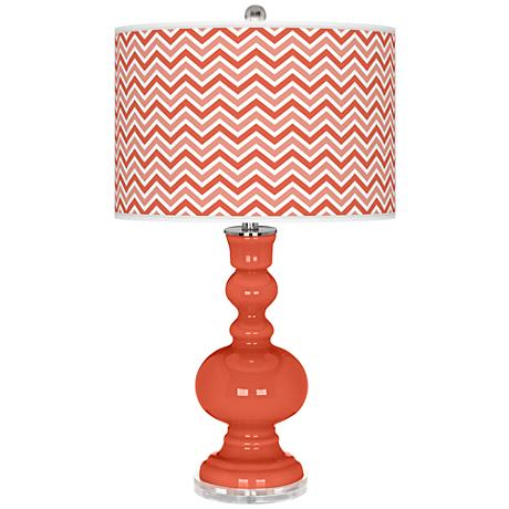 Daring Orange Narrow Zig Zag Apothecary Table Lamp