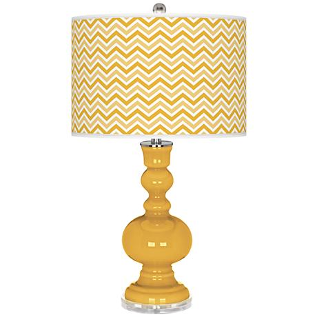 Goldenrod Narrow Zig Zag Apothecary Table Lamp