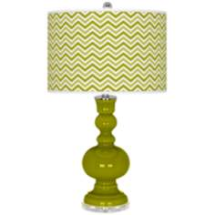 Olive Green Narrow Zig Zag Apothecary Table Lamp