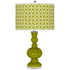 Olive Green Circle Rings Apothecary Table Lamp