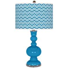 River Blue Narrow Zig Zag Apothecary Table Lamp
