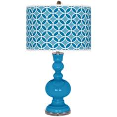 River Blue Circle Rings Apothecary Table Lamp