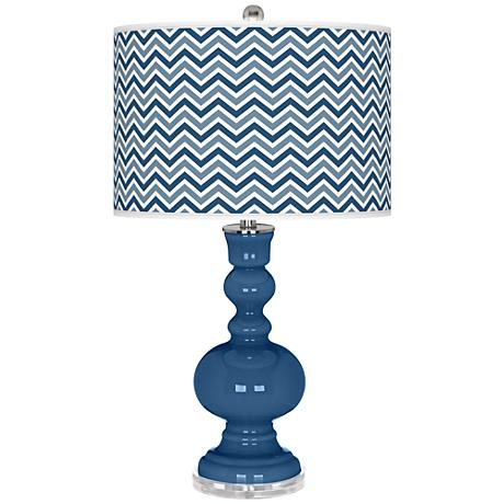 Regatta Blue Narrow Zig Zag Apothecary Table Lamp