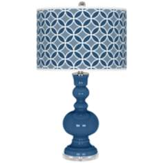 Regatta Blue Circle Rings Apothecary Table Lamp