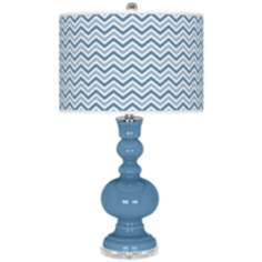 Secure Blue Narrow Zig Zag Apothecary Table Lamp