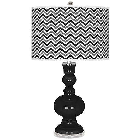 Tricorn Black Narrow Zig Zag Apothecary Table Lamp