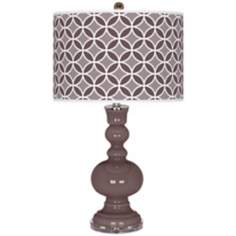 Deepest Mauve Circle Rings Apothecary Table Lamp
