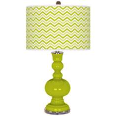 Pastel Green Narrow Zig Zag Apothecary Table Lamp