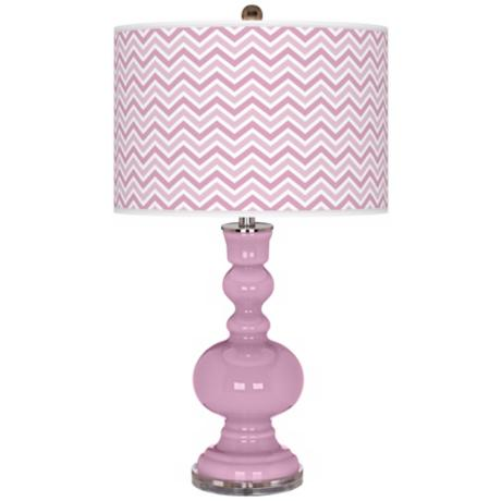 Pink Pansy Narrow Zig Zag Apothecary Table Lamp