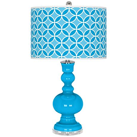 Sky Blue Circle Rings Apothecary Table Lamp