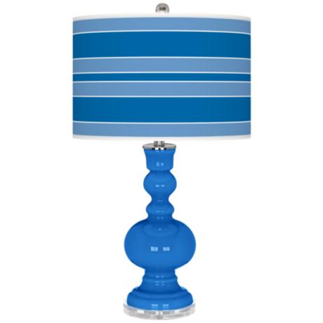 Royal Blue Bold Stripe Apothecary Table Lamp
