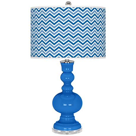 Royal Blue Narrow Zig Zag Apothecary Table Lamp