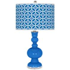 Royal Blue Circle Rings Apothecary Table Lamp