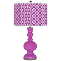 Peony Purple Circle Rings Apothecary Table Lamp