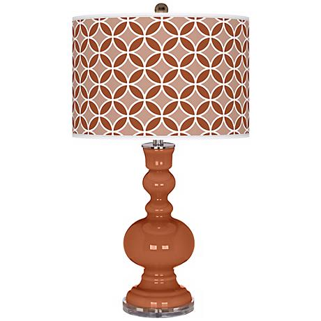 Fawn Brown Circle Rings Apothecary Table Lamp