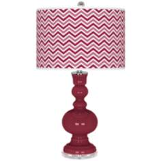 Antique Red Narrow Zig Zag Apothecary Table Lamp