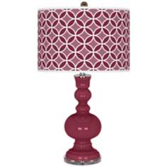 Dark Plum Circle Rings Apothecary Table Lamp