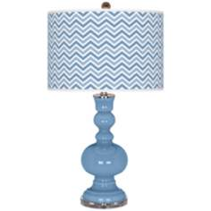Dusk Blue Narrow Zig Zag Apothecary Table Lamp