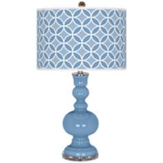 Dusk Blue Circle Rings Apothecary Table Lamp