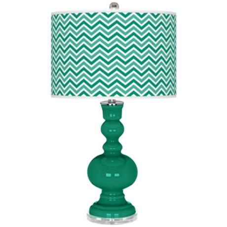 Emerald Narrow Zig Zag Apothecary Table Lamp