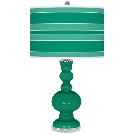 Emerald Bold Stripe Apothecary Table Lamp