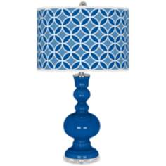 Hyper Blue Circle Rings Apothecary Table Lamp