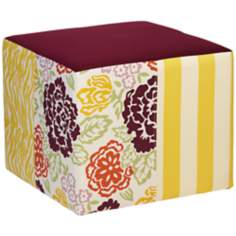 Emma Burgundy and Yellow Floral Ottoman