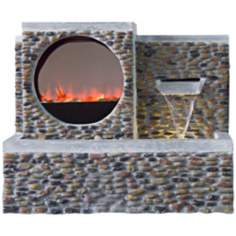 Pebble Outdoor LED Fireplace Fountain