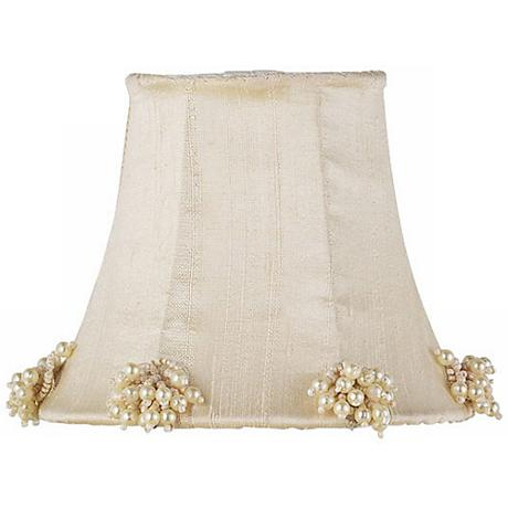 Ivory Silk Shade with Pearl Burst Trim 3x5x4.25 (Clip-On)