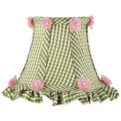 Green Checkered and Ruffled Silk Shade 3x5x4.25 (Clip-On)