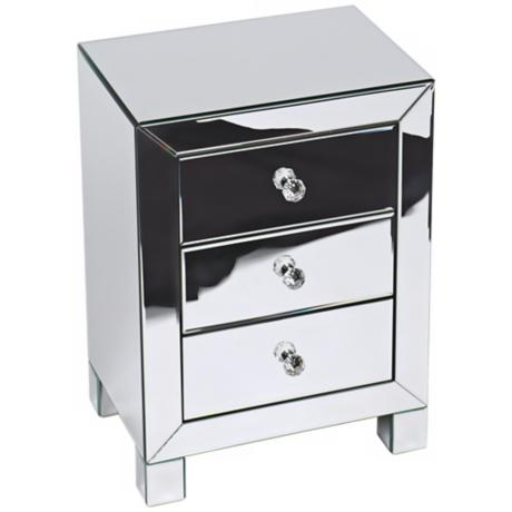Reflections Silver Mirror 3-Drawer Accent Table