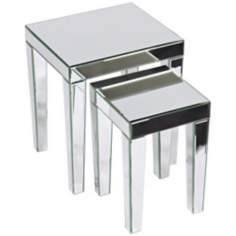 Reflections Set of 2 Silver Mirror Nesting Tables