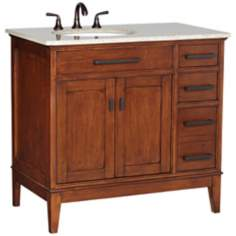 "Cullen Beige Granite Top 37"" Wide Single Sink Vanity"