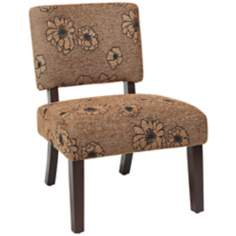 Jasmine Finesse Flower Mocha Cushioned Accent Chair