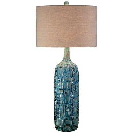 Ceramic Teal Mid-Century Table Lamp