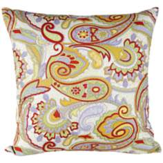 "Bright Paisley 18"" Square Throw Pillow"