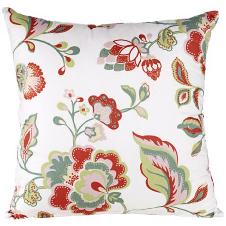 "Elizabeth Floral Print 18"" Square Throw Pillow"